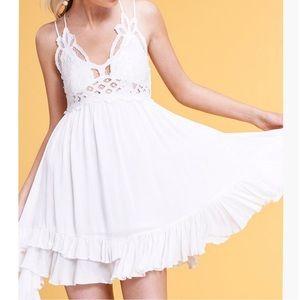 Mesh Lace Bralette Mini Dress Ruffle White Dress